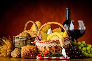 Hintergrundbilder Stillleben Wein Weintraube Brot Käse Flasche Weidenkorb Weinglas
