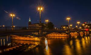 Fotos Stockholm Schweden Flusse Brücken Nacht Straßenlaterne Städte