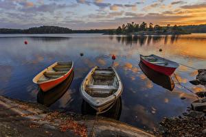Bilder Schweden See Sonnenaufgänge und Sonnenuntergänge Boot Natur