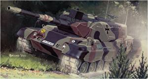 Pictures Tanks Painting Art German Leopard 1A4 Army