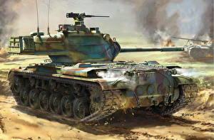 Wallpaper Tank Painting Art American M47 Patton, AMX-13