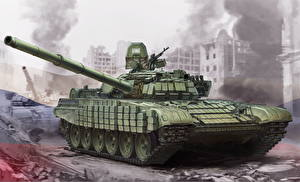 Photo Tanks Painting Art T-72 Russian T-72B1
