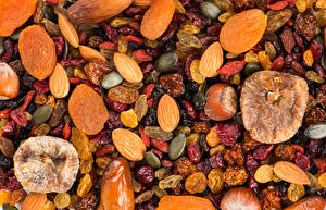 Wallpapers Texture Figs Nuts Raisin Dried apricot Dried fruit Food