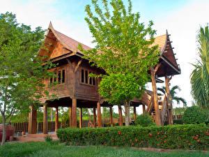 Bureaubladachtergronden Thailand Gebouw Ontwerp Struiken Bomen Thai style Steden