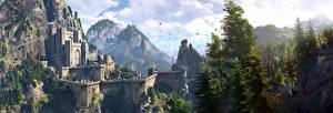 Bakgrundsbilder på skrivbordet The Witcher 3: Wild Hunt Borg Fästning Kaer Morhen Datorspel Fantasy