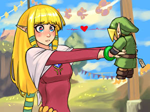 Fonds d'écran Jouets Amour The Legend of Zelda Elfe Blondeur Fille Fanart jeu vidéo Filles Fantasy
