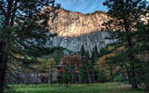 Picture USA Park Houses HDRI Yosemite Cliff Trees Spruce Nature