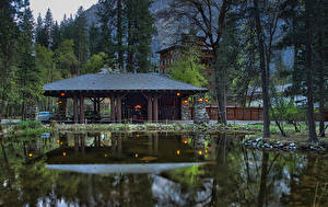 Picture USA Park Building Pond Yosemite Trees Ahwahnee Hotel Nature