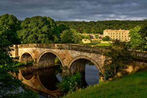Images United Kingdom Houses Rivers Bridge Chatsworth House Nature