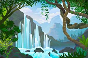 Fotos Vektorgrafik Wasserfall Ast Natur