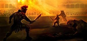 Hintergrundbilder Krieger Löwe Schlacht Schwert Helm Arena Gladiator Fantasy