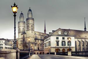 Pictures Zurich Switzerland Building Bridges Fence Street lights