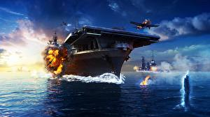 Pictures Aircraft carrier Airplane Explosions World Of Warship US Yorktown, U.S.S CV-10 vdeo game