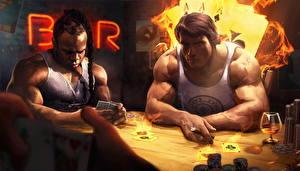 Bureaubladachtergronden Arnold Schwarzenegger Speelkaart Mannen Getekende Bar Neger Tafel Kai Greene Beroemdheden
