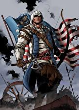 Desktop wallpapers Assassin's Creed 3 Warrior Archers Battle axes Flag Fan ART Connor Games