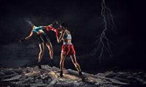 Fonds d'écran Boxe anglaise 2 Jambe Main Foudre Short Bagarre Frapper jeunes femmes Sport