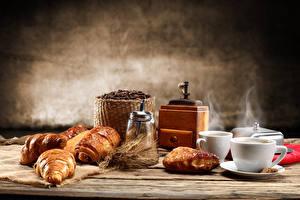 Bilder Kaffee Croissant Tasse Dampf Getreide Ähre Lebensmittel