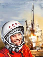 Pictures Cosmonauts Rocket Painting Art Yuri Gagarin Smile USSR Helmet Space Celebrities