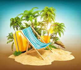 Fotos Kreativ Insel Palmen Koffer Sonnenliege Tourismus 3D-Grafik