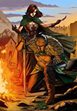 Image Dark Souls Knight Armor Two Swords Bonfire Fan ART 2, Emerald Herald Games Girls Fantasy