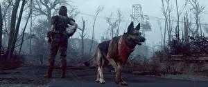 Fotos Hunde Fallout Fallout 4 Shepherd He got your back Spiele 3D-Grafik Mädchens