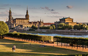 Images Dresden Germany Building Rivers Trees Cities