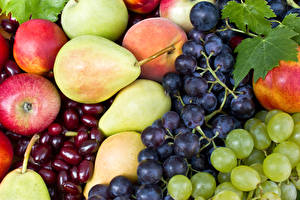 Pictures Fruit Grapes Apples Pears Food
