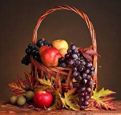 Wallpapers Fruit Grapes Apples Pears Still-life Wicker basket Leaf Food