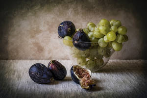 Pictures Fruit Grapes Ficus carica Still-life Boards Food