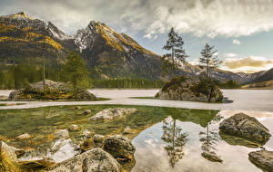Wallpapers Germany Mountain Lake Stones Landscape photography Trees Ramsau Nature