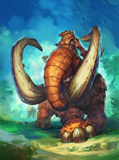 Bilder Hearthstone: Heroes of Warcraft Mammute Giant Mastodon computerspiel