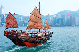 Hintergrundbilder Hongkong Meer Segeln China Binnenschiff Städte