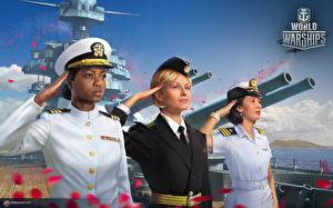 Tapety na pulpit 8 marca Żołnierz World Of Warship Murzyn Troje 3 gra wideo komputerowa Dziewczyny Wojska