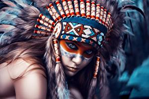 Bilder Maske Federhaube Indianer Starren Dmitry Arhar Mädchens