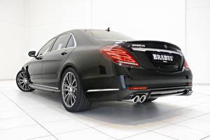 Bilder Mercedes-Benz Brabus Hinten Schwarz Auto Scheinwerfer Limousine Metallisch Hybrid Autos S-Klasse W222, 2015, B50 auto