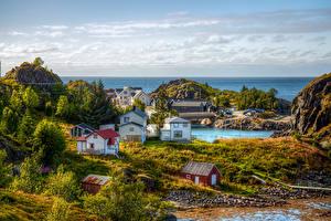 Hintergrundbilder Norwegen Haus Hamn Troms Fylke