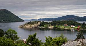 Fotos Norwegen Lofoten See Küste Hügel Natur
