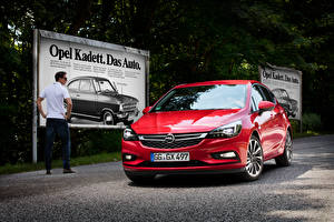 Fotos Opel Vorne Rot Metallisch 2015 Astra K automobil