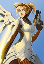Pictures Overwatch Pistols Fan ART Mercy Games Girls Fantasy
