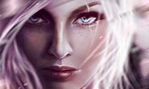 Hintergrundbilder Gezeichnet Großansicht Gesicht Blondine Starren Nase Mädchens