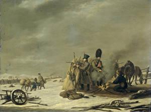 Picture Pictorial art Soldiers Bonfire Johannes Hari, Nachtkwartier te Molodetschno, 3-4 december 1812 episode uit de terugtocht van keizer Napoleon uit Rusland