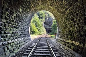 Wallpaper Railroads Tunnel Made of stone