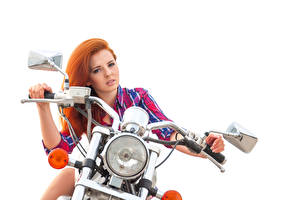Wallpaper Redhead girl Motorcyclist Hands Staring Headlights White background Beautiful young woman