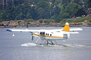 Bilder Fluss Flugzeuge Wasserflugzeug Weiß Luftfahrt