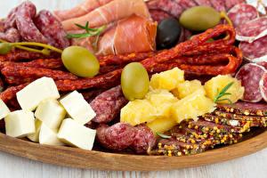 Fotos Wurst Schinken Käse Oliven Lebensmittel