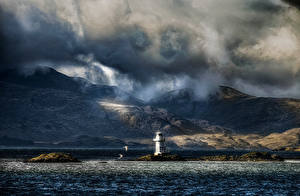 Photo Scotland Lighthouses Mountain Evening Sea Coast Clouds Argyle Nature