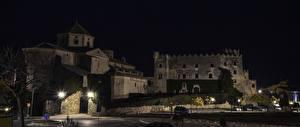 Pictures Spain Castle Night Street lights Castillo de Tamarit Tarragona Cities
