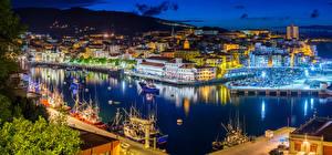 Fotos Spanien Haus Seebrücke Schiff Nacht Bucht Bermeo Basque Country Städte