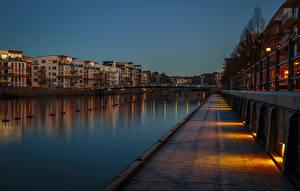 Hintergrundbilder Stockholm Schweden Abend Gebäude Flusse Zaun Kanal