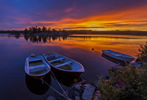 Fotos Schweden Sonnenaufgänge und Sonnenuntergänge See Boot Natur